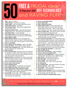 50 Free & Frugal Ideas To Keep Kids Off Technology & Having Fun! | Frugal Fun Mom