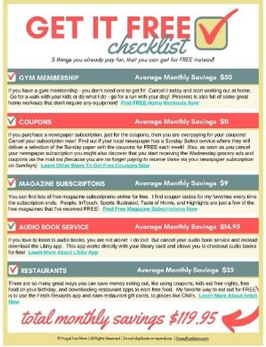 Get It Free Checklist | Frugal Fun Mom